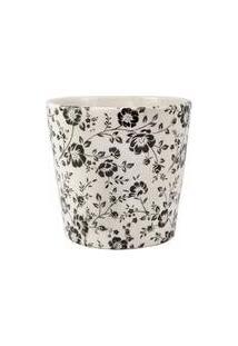 Cachepot Em Ceramica Branco E Preto