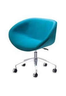 Poltrona Smile Assento Estofado Em Linho Alecrim Base Rodizio Em Aluminio - 55847 55847