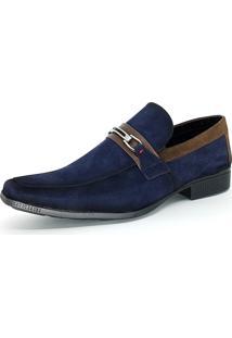 Sapato Social Bali Man Camurça Azul-Marinho