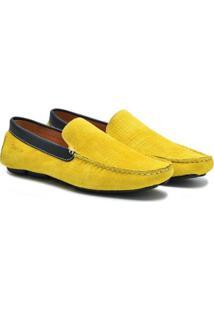 Mocassim Couro Sartre Amarelo Masculino - Masculino-Amarelo