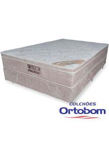 Box Casal Camurça Crema + Colchão Casal Com Molas Springpocket Airtech - Ortopillow - Ortobom