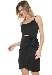 Vestido Mercatto Curto Sobreposição Preto