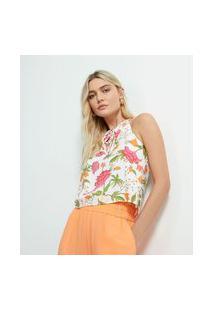 Blusa Cavada Em Viscose Estampa Floral Com Amarração