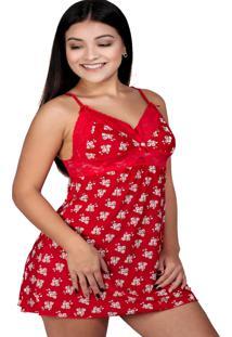 Camisola Alça Vermelho Com Flor E Renda Ellie Vermelho