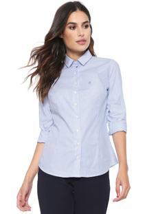 Camisa Dudalina Slim Listrada Azul/Branca