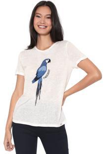 Camiseta Lez A Lez Arara Azul Bordada Off-White