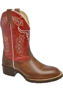 Bota Texana Em Couro Legítimo Liso Escrete Com Bordados - Masculino-Marrom+Vermelho