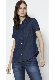 Camisa Jeans Com Bolsos - Azul Escurolevis