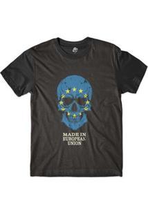Camiseta Bsc Caveira País União Européia Sublimada Masculina - Masculino-Preto
