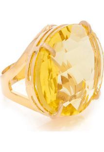 Anel Oval Cristallo Semijoia Banho De Ouro 18K Cristal Amarelo
