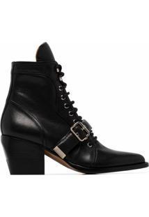 Chloé Ankle Boot Rylee Com Salto 60Mm - Preto