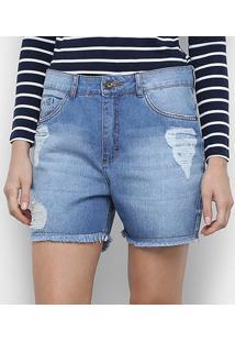 Bermuda Jeans Malwee Boyfriend Feminina - Feminino-Azul