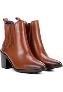 Bota Chelsea Shoestock Bico Fino Feminina - Feminino-Caramelo