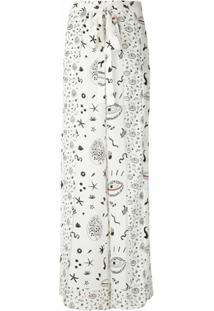 Nk Calça Pantalona De Seda Estampada - Branco