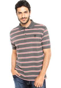 Camisa Polo Mr Kitsch Fio Tinto Cinza/Vermelha