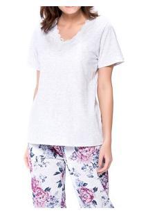 Pijama Feminino Longo Floral Podiun (5132) Algodão
