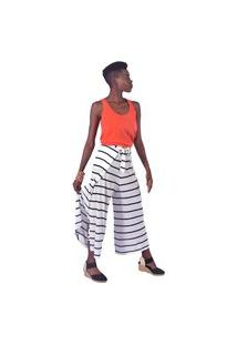 Calça Equal Moda Inclusiva Envelope Listrada Preto E Branco