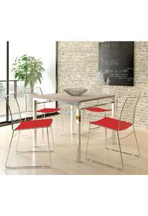 Mesa 1525 Nogueira Cromada Com 4 Cadeiras 1712 Vermelho Carraro