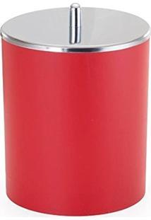 Lixeira Com Tampa Em Inox 5 Litros - Arthi - Vermelho