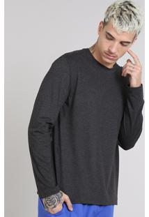 Camiseta Masculina Básica Gola Careca Manga Longa Cinza Mescla Escuro