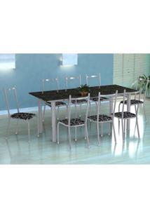 Conjunto De Mesa Cordoba Com 8 Cadeiras Lisboa Branco Prata E Preto Floral