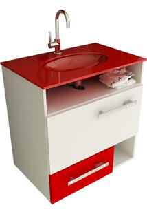 Gabinete Para Banheiro 60 Cm Com 2 Peças Linea 17 Branco E Vermelho Tomdo