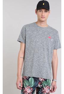 "Camiseta Masculina Flamê ""Summer"" Manga Curta Gola Careca Cinza Mescla"