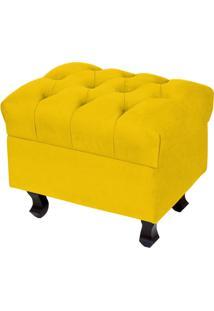 Puff Lyam Decor ParãS Luis Xv Capitone Pã©S Madeira Suede Amarelo - Amarelo/Preto - Dafiti