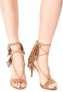 Sandália Dafiti Shoes Franja Tassel Bege
