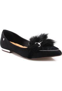 Sapatilha Zariff Shoes Bico Fino Pêlo Preto