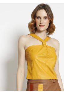 Blusa Com Recortes- Amarelala Chocolãª