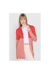 Maxi Cardigan Lez A Lez Color Block Rosa