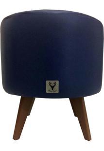 Puff Pã© Palito Redondo Alce Couch Courvin Azul 40Cm - Azul - Dafiti