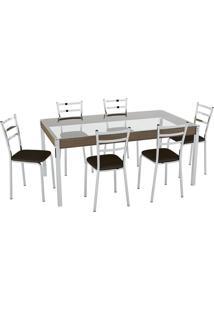 Conjunto Mesa Tampo Vidro C/ 6 Cadeiras Vinil Cacau/Cromado Pozza