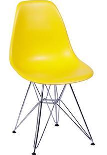 Cadeira Eames Dkr- Amarela & Prateada- 80,5X46X42Cm