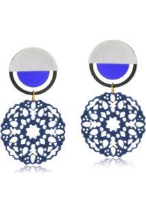 Brinco Le Diamond Mandala Baquelite Azul