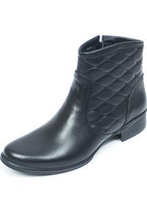 Bota Cano Curto Em Couro Ec Shoes Preto