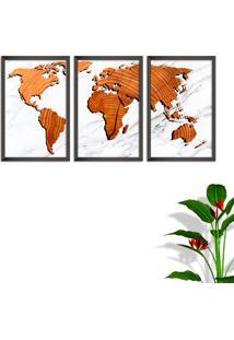 Quadro 60X120Cm Mapa Mundi Madeira Moldura Sem Vidro Fundo Branco Altas Países Decorativo Interiores - Oppen House