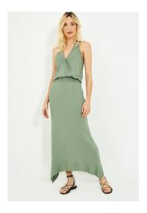 Vestido Decote Lastex Verde Militar