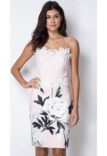 Vestido Lança Perfume Midi Guipir - Feminino-Rosa+Branco