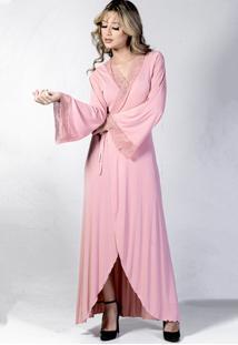 Robe Sereia Longo Yasmin Lingerie Manga Longa Rosa - Kanui
