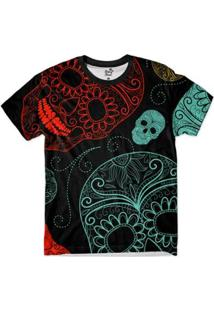 Camiseta Bsc Caveira Neon Full Print Masculina - Masculino-Preto