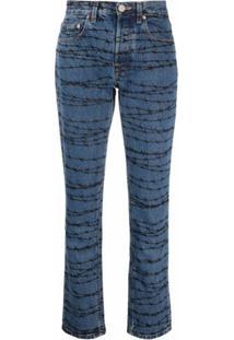 Vetements Calça Jeans Com Estampa De Arame Farpado - Azul