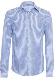 Camisa Masculina Linho Listrada - Azul