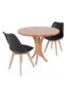 Conjunto Mesa De Jantar Tampo De Madeira 90Cm Com 2 Cadeiras Leda - Preto