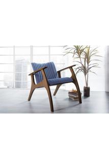 Poltrona Decorativa Para Sala Estofada Smith Metalassê Cor Azul Claro - Verniz Capuccino - 69X83X74 Cm