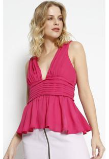 Blusa Drapeada Peplum- Pink- Charrycharry