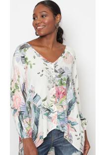 Blusa Floral Com Botãµes- Branca & Rosa- Tritontriton
