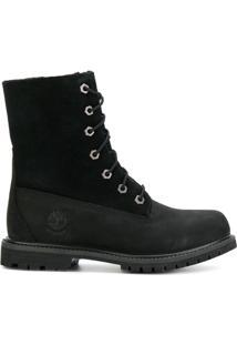 Timberland Ankle Boot De Couro Com Cadarço - Preto