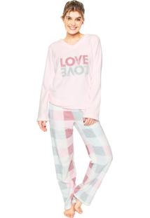 Pijama Any Any Soft Double Love Rosa/Azul